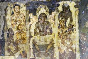 Buddhist painting in the Ajanta Caves, UNESCO World Heritage Site, Maharashtra, India, Asia by Alex Robinson