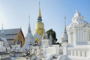 Chedis (Stupas) at the Temple of Wat Suan Dok, Chiang Mai, Thailand, Southeast Asia, Asia by Alex Robinson