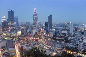 City skyline at night showing the Bitexco tower, Ho Chi Minh City (Saigon), Vietnam, Indochina, Sou by Alex Robinson