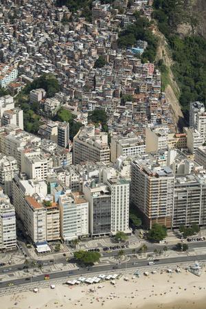 Copacabana Beach, Neighbourhood and the Morro Da Humaita Favela Behind, Rio De Janeiro, Brazil