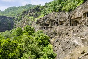 General view of the Ajanta Caves, UNESCO World Heritage Site, Maharashtra, India, Asia by Alex Robinson