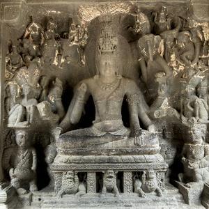 Hindu statue at the Ellora Caves, UNESCO World Heritage Site, Maharashtra, India, Asia by Alex Robinson