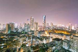 India, Maharashtra, Mumbai, View of the City of Mumbai City Centre at Night from Kemp's Corner by Alex Robinson