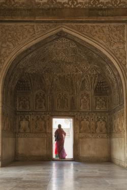 India, Uttar Pradesh, Agra, Agra Fort, a Woman in a Red Saree Walks Through the Interior by Alex Robinson