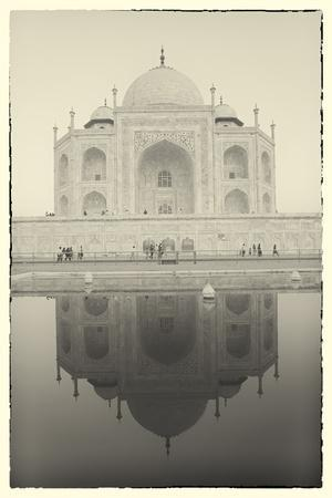 India, Uttar Pradesh, Agra, Black and White of the Taj Mahal Reflected in One of the Bathing Pools