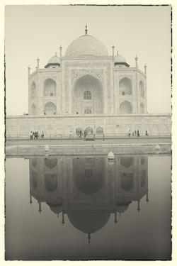 India, Uttar Pradesh, Agra, Black and White of the Taj Mahal Reflected in One of the Bathing Pools by Alex Robinson
