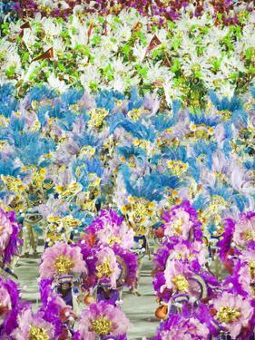 Rio De Janeiro, Rio De Janeiro City, Costumed Dancers at Carnival in the Sambadrome Marques De Sapu by Alex Robinson