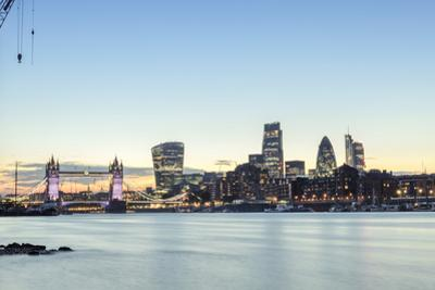 Skyline of the City of London and Tower Bridge at Twilight Shot from Bermondsey, London, England by Alex Robinson