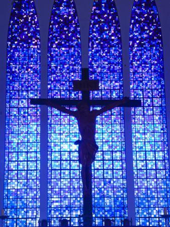 South America, Brazil, Brasilia, Distrito Federal, the Santuario Dom Bosco Church, Stained Glass Wi by Alex Robinson