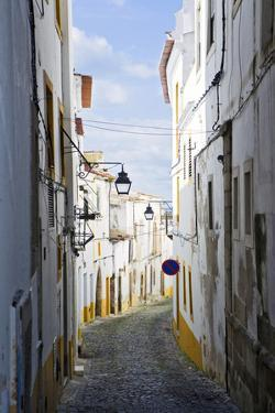 View Along the Medieval Cobbled Street of Rua Do Moeda in Historic Centre of Evora by Alex Robinson