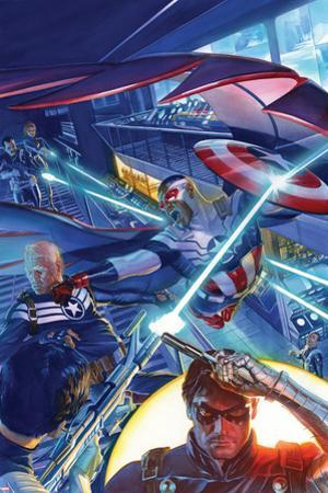 Captain America: Sam Wilson No. 7 Cover Featuring Falcon Cap, Steve Rogers, Winter Soldier by Alex Ross