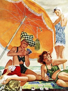 """""""Card Game at the Beach,"""" August 28, 1943 by Alex Ross"""
