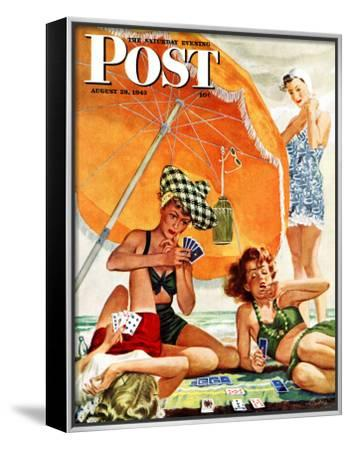 """""""Card Game at the Beach,"""" Saturday Evening Post Cover, August 28, 1943 by Alex Ross"""