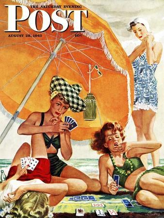 """""""Card Game at the Beach,"""" Saturday Evening Post Cover, August 28, 1943"""