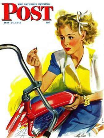 """""""Flat Bike Tire,"""" Saturday Evening Post Cover, July 24, 1943 by Alex Ross"""