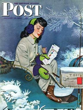 """Mail Delivery by Sleigh,"" Saturday Evening Post Cover, January 29, 1944 by Alex Ross"
