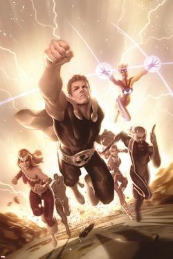 Squadron Supreme No. 5 Cover Featuring Thundra, Nighthawk, Hyperion, Zarda, Doctor Spectrum, Blur by Alex Ross