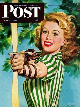 """""""Woman Archer,"""" Saturday Evening Post Cover, July 22, 1944 by Alex Ross"""