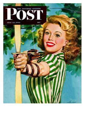 """Woman Archer,"" Saturday Evening Post Cover, July 22, 1944 by Alex Ross"