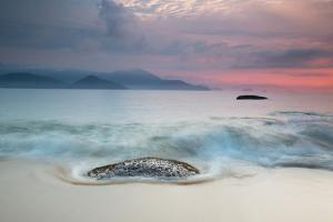 A Long Exposure of a Colorful Sunrise in the Atlantic Rainforest Beach in Ubatuba, Brazil by Alex Saberi