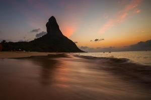 A Long Exposure of Morro Do Pico on Fernando De Noronha at Sunset by Alex Saberi