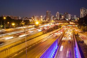 Busy Highway Traffic at Dusk in Sao Paulo, Brazil by Alex Saberi