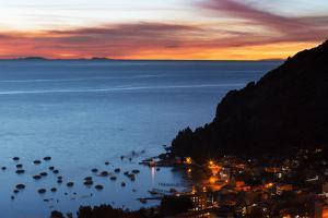 Dusk over the Town of Copacabana and Lake Titicaca by Alex Saberi