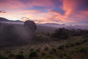 Farmland in Chapada Diamantina National Park with Mist from Cachaca Smoke at Sunset by Alex Saberi