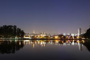 Ibirapuera Park with a Reflection of the Sao Paulo Skyline at Night by Alex Saberi