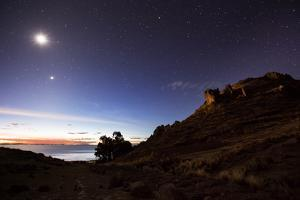 Night Sky with the Moon and Venus over Mountains Near Copacabana and Lake Titicaca by Alex Saberi