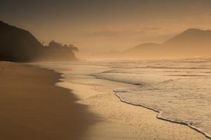 Praia Das Toninhas in Ubatuba at Sunrise, with the Serra Do Mar Mountain Range in the Background by Alex Saberi