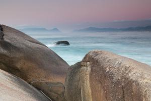 Rock and Sea Praia Da Joaquina Beach in Santa Catarina State at Sunrise by Alex Saberi