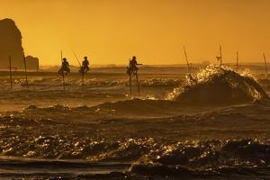 Stilt Fishermen at Sunrise by Alex Saberi