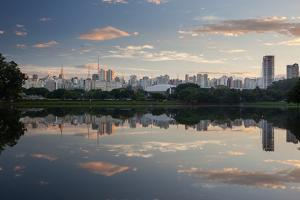 Sunrise in Ibirapuera Park with a Reflection of the Sao Paulo Skyline by Alex Saberi