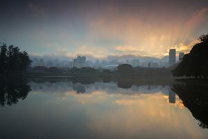 Sunrise on a Lake in Sao Paulo's Ibirapuera Park by Alex Saberi