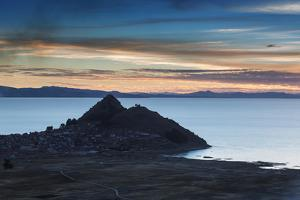 Sunset Looking Towards Copacabana on Lake Titicaca by Alex Saberi