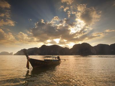 Thai Fishing Boats Off Phi Phi Island at Sunset by Alex Saberi
