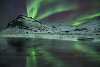 The Aurora Borealis Reflected in a Small Lake in Iceland with Mountains in the Background by Alex Saberi