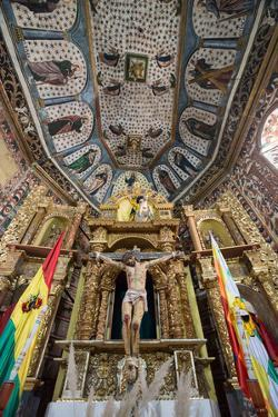 The Church of Santiago De Curahuara with Statue of Jesus on the Cross by Alex Saberi