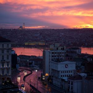 The Fatih Mosque at Sunset with the Golden Horn by Alex Saberi