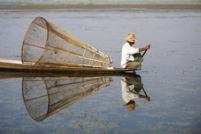 A basket fisherman on Inle Lake scans the still and shallow water for signs of life, Shan State, My by Alex Treadway