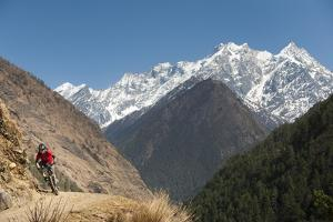 A Mountain Biker Cycles Along a Trail in the Tsum Valley in Nepal by Alex Treadway