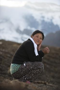 A Nepali Girl in the Hills in the Everest Region of Nepal by Alex Treadway