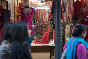 A Sari Shop in the Old Part of Kathmandu by Alex Treadway