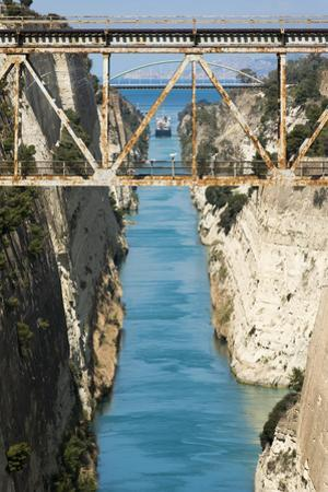 A ship in the Corinth Canal which separates the Peloponnese from the Greek mainland. by Alex Treadway