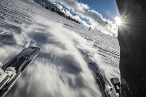 A Skier in the Italian Dolomites Takes a Picture Looking Backwards Through His Legs by Alex Treadway