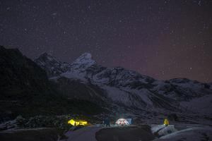 Ama Dablam Base Camp in the Everest Region of Nepal Glows under Stars by Alex Treadway