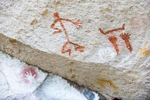 Cave painting at Cueva de las Mano (Cave of Hands), UNESCO World Heritage, Patagonia, Argentina by Alex Treadway
