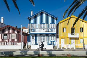 Colourful Stripes Decorate Traditional Beach House Style on Houses in Costa Nova, Portugal, Europe by Alex Treadway