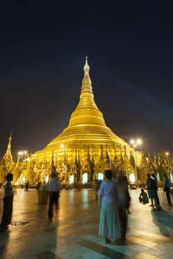 Devotees come to pray at Shwedagon Pagoda, Yangon (Rangoon), Myanmar (Burma), Asia by Alex Treadway